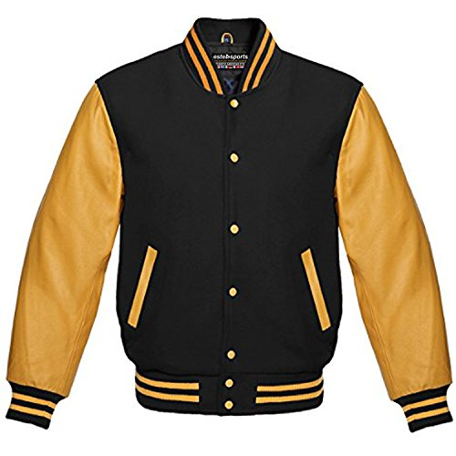 (Premium New Letterman Baseball College School Varsity Jacket Wool Real Leather (Gold/Black, L))