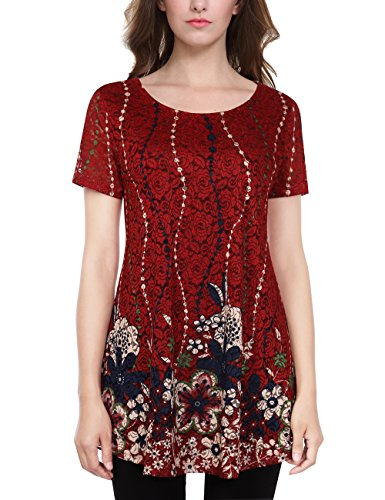 Casual Floral A Line Tunic  Women Swing Short Sleene O Neck Vintage Lace Flower Baggy Knitted Pullover Pleatted Tops Blouse Tops 2Xl Red  2