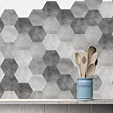 bathtub tile ideas Floor Wall Tile Decal for Home Decor, Self-Adhesive Peel and Stick Hexagon Backsplash Tile Sticker for Kitchen Bathroom, 7.9x9.1inch 10 Pcs