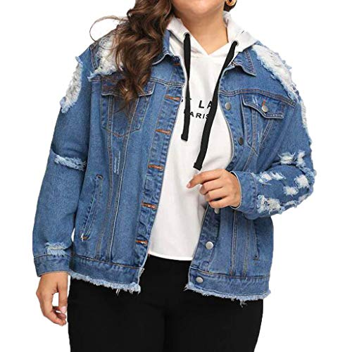 Lmx+3f Women's Casual Plus Size Blue Hole Coat Long Sleeve Pocket Button Denim Jacket Outcoat Soft Comfy Coats