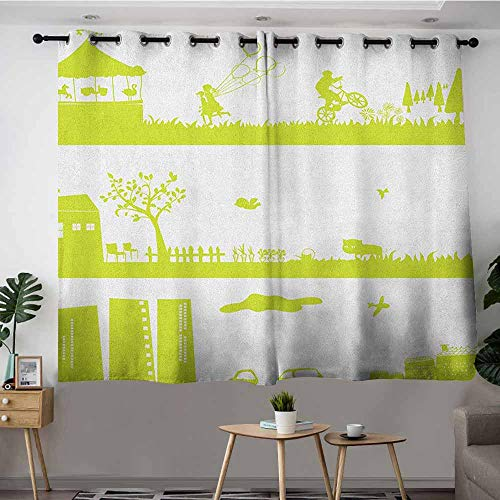 DGGO Blackout Curtains Panels,Green and White Monochrome Fairground Countryside and Urban Area Silhouette Pattern,Room Darkening, Noise Reducing,W55x72L Apple Green White