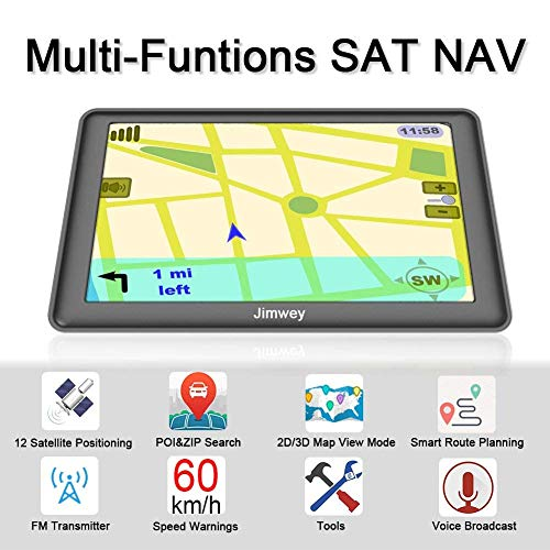 SAT NAV GPS Navigation System, 5 inch 8GB 256MB Jimwey Car Truck Lorry  Satellite Navigator Device with Post Code POI Search Speed Camera Alerts,