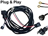 #9: AutoSonic LED Wiring Harness 2 Lead Heavy Duty for LED Light Bar Work Light, 12V 40A Relay, Fuse and On-off switch button included, Life Time Warranty