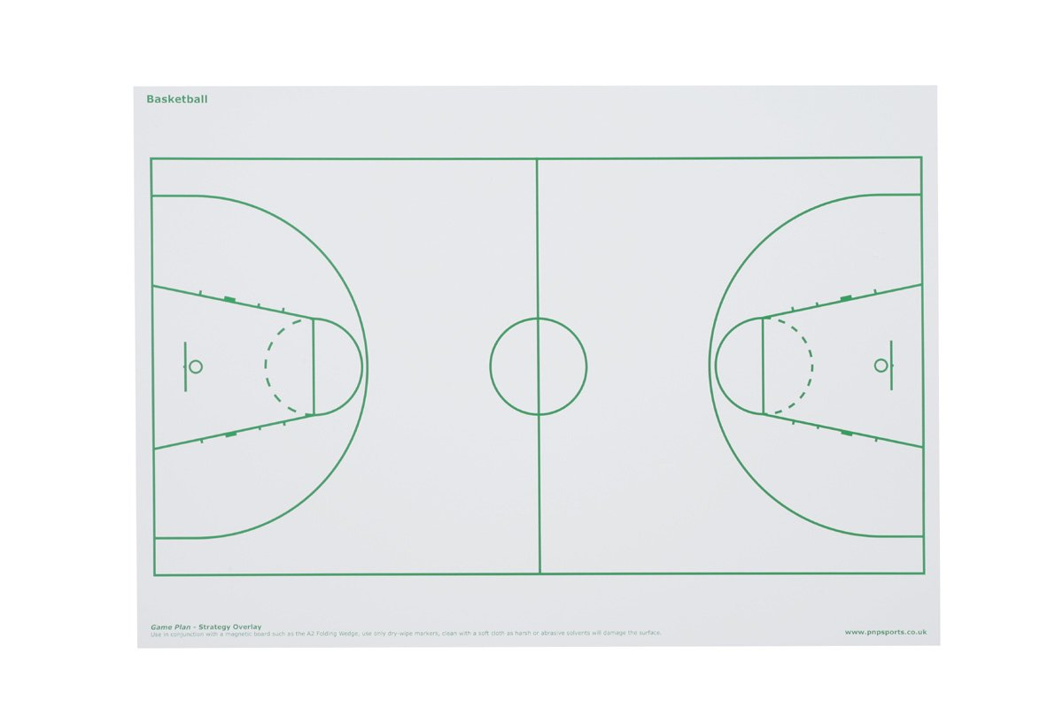 2 x Game Plan - BASKETBALL PITCH OVERLAY can be used on Magnetic Whiteboards / Sports Strategy / Tactics / Coaching Team Sports Paul Norman Plastics Ltd GP/BASKETBALL