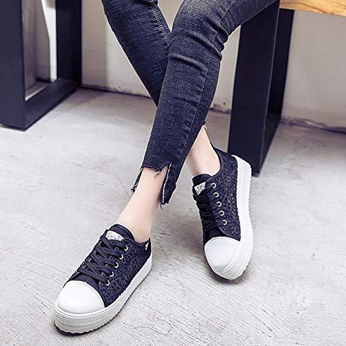 Blanco de Zapatos de ZHZNVX Flat Encaje Mujer White Comfort Primavera Otoño Heel Sneakers Negro 5Pqdwf
