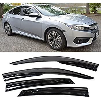 VXMOTOR for 2016-Up Honda Civic 4Dr Sedan Smoke Tinted Side Window Visors Tape-On