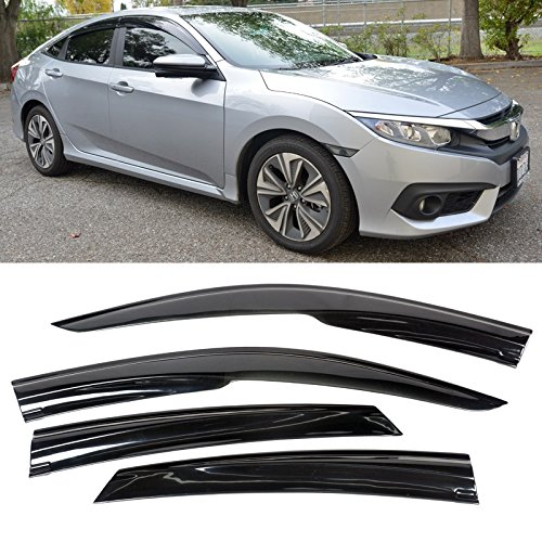 VXMOTOR 2016-Up Honda Civic 4Dr Sedan Smoke Tinted Side Window Visors Tape-On
