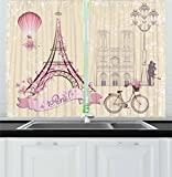 Ambesonne Kiss Kitchen Curtains, Floral Paris Symbols Landmarks Eiffel Tower Hot Air Balloon Bicycle Romantic Couple, Window Drapes 2 Panel Set for Kitchen Cafe, 55 W X 39 L Inches, Ivory Pink For Sale