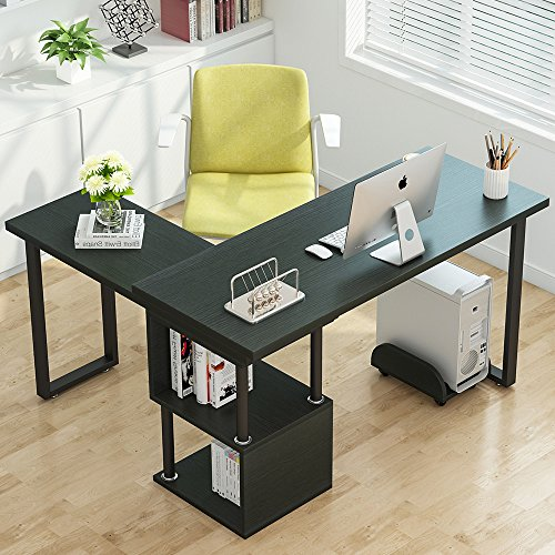 Tribesigns Modern L-Shaped Desk, 360° Free Rotating Corner Computer Desk PC Laptop Study Writing Table with Storage Shelves for Home Office (Black)