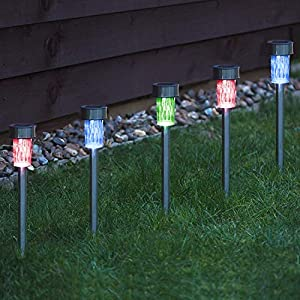 10 x CUQOO Colour Changing Stainless Steel Solar LED Garden Lights Rechargeable Lamps