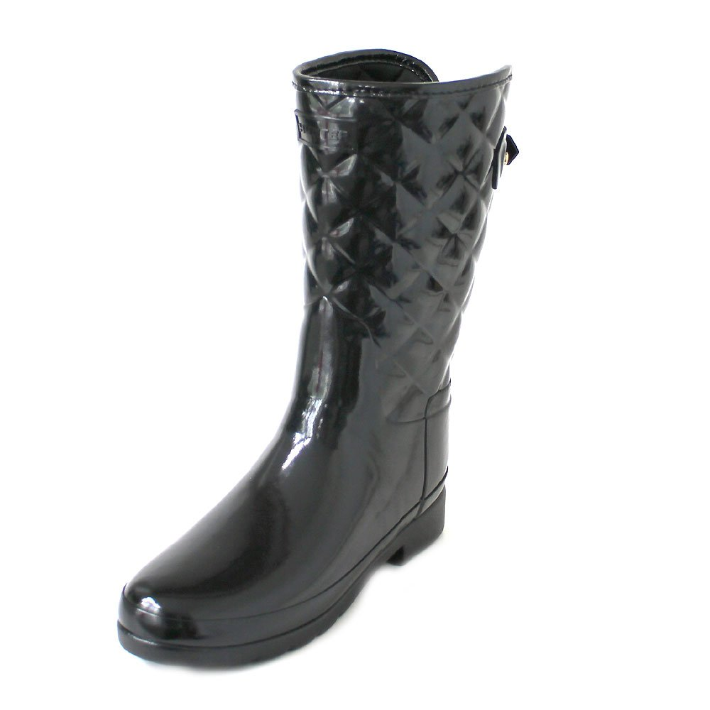 Hunter Original Refined Short Quilted Black Gloss Boot