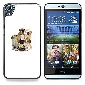 """Pug Beagle Labrador Boxer Perros Raza"""" - Metal de aluminio y de plástico duro Caja del teléfono - Negro - HTC Desire 626 626w 626d 626g 626G dual sim"""