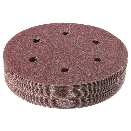 CynKen 100pcs 150mm 6 Inch 40-400 Grit Sandpapers Sand Discs Sanding Polishing Pad with Hook and Loop Backer Pad 6 Holes