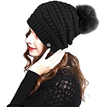 BN2270 Women's Premium Winter Slouch Cable Knitted Pom Pom Beanie Hat