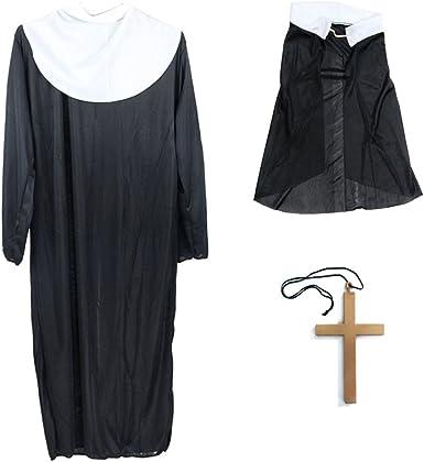 BESTOYARD Disfraz de Monja de Halloween Disfraces Robe Clothing ...