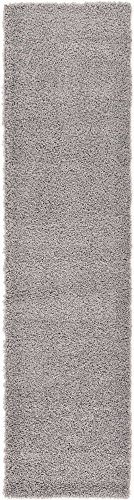 Unique Loom Solo Solid Shag Collection Modern Plush Cloud Gray Runner Rug (2' 6 x 10' 0) from Unique Loom