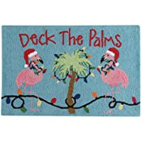 22 x 34 Holiday Hooked Rug - Deck the Palms