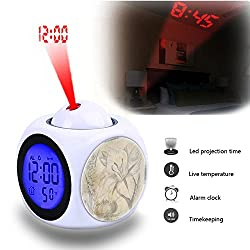 Projection Alarm Clock Wake Up Bedroom with Data and Temperature Display Talking Function, LED Wall/Ceiling Projection,Customize the pattern-044.Background, Vintage, Plant, Flower, Bulb