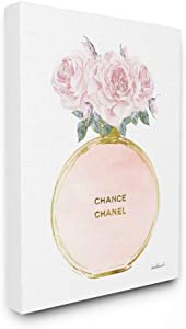 Stupell Industries Pink and Gold Round Perfume Bottle with Roses Canvas Wall Art, 16 x 20, Design by Artist Amanda Greenwood