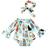 Leapparel Long Sleeve Fancy Sunflower Printing Outfit Baby Girl Summer Romper Little Girls Bodysuit with Head Bands Light Blue 6-12M/80