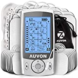 AUVON Dual Channel TENS Unit Muscle Stimulator (Family Pack), 20 Modes Rechargeable TENS Machine with Huge Pack of 24 Pcs Reusable TENS Unit Electrode Pads (2'x2' 16pcs, 2'x4' 8pcs)