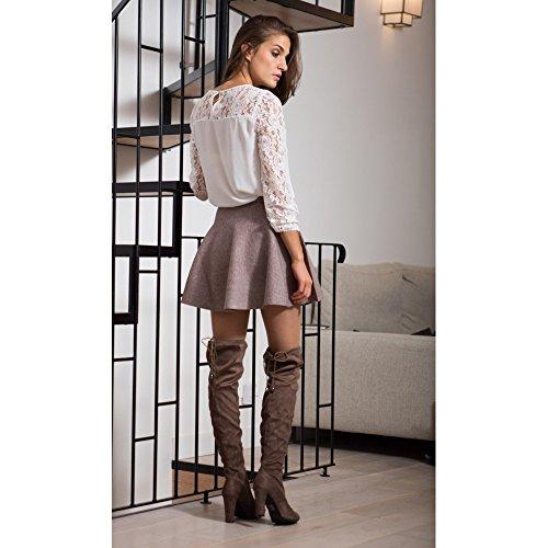 Ideal Shoes - Cuissardes effet daim avec talons épais Emilia Taupe 40