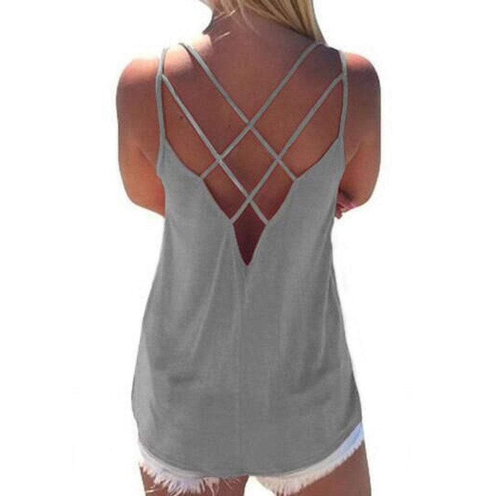 wodceeke Womens Criss Cross Back Tank Tops Loose Hollow Out Solid Camisole Shirt Top Vest Blouses(Gray,XL)