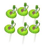 Jokari 6 Count Mtn Dew Modern Logo Sip and Seal Soda Can Straws, Green