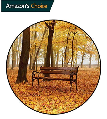 RUGSMAT Rustic Non-Slip Area Rug Pad Round,Rustic Bench in Orange Pale Autumn Park Mist Day November Love Fall Season Photo Protect Floors While Securing Rug Making Vacuuming,Diameter-39 Inch