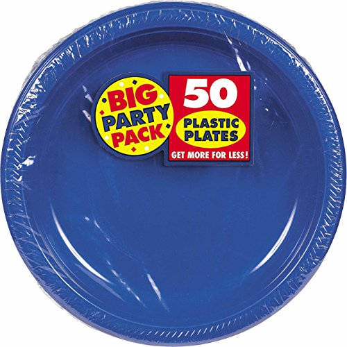 Amscan AMI 630732.105 Plastic Lunch Plates, 10.5-Inch, Bright Royal Blue