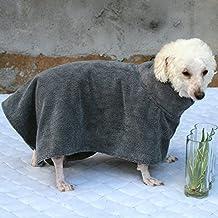 YINGLI Bathrobe for Dogs Microfibre - Super Absorbant, Quick Drying Dog Bathrobe (XL, gray)