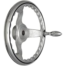 """3 Spoked Chrome Plated Cast Iron Dished Hand Wheel with Handle, 10"""" Diameter, 3/4"""" Hole Diameter (Pack of 1)"""