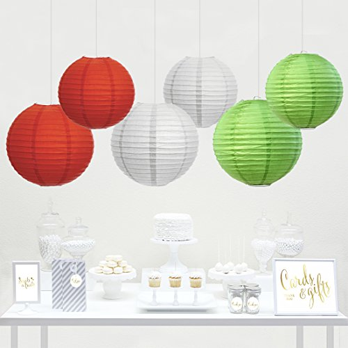 Andaz Press Hanging Paper Lantern Party Decor Trio Kit with Free Party Sign, Kiwi Green, Red, White, 6-Pack, For Office Classroom Christmas Decorations