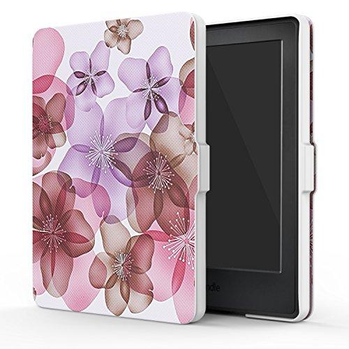 MoKo Hülle für Kindle 8 Generation - Dünnste und leichteste Smartshell Case Schutzhülle mit Auto Sleep / Wake für der Neue Amazon Kindle (8. Generation - 2016 Modell) 6 Zoll eReader, Blumen Violett