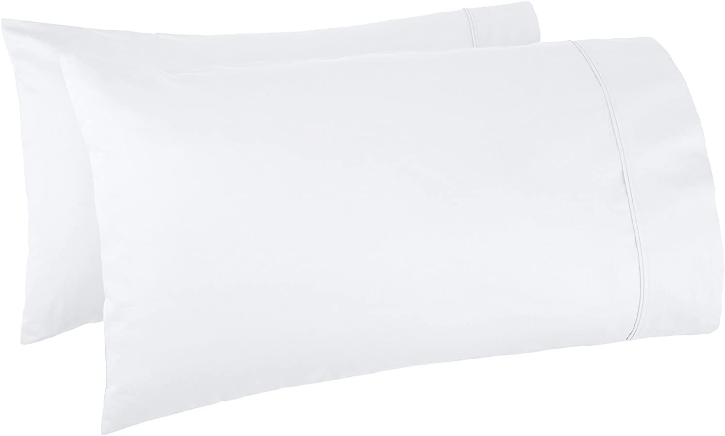500 Thread Count 100% Egyptian Cotton Pillow Cases, White Standard Pillowcase Set of 2, Long-Staple Combed Pure Natural 100% Cotton Pillows for Sleeping, Soft & Silky Sateen Weave Bed Pillow Cover.