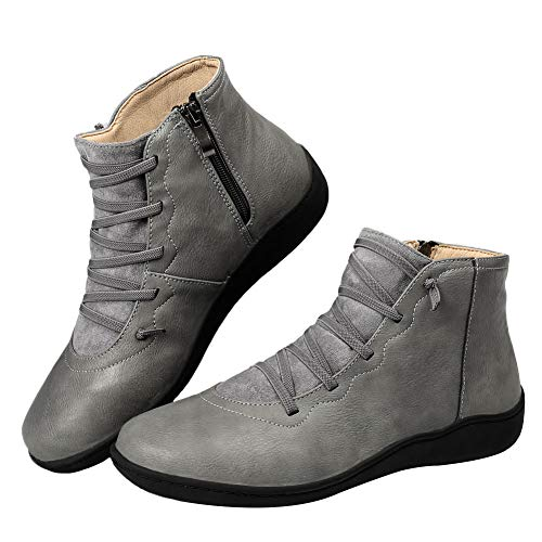 DUOYANGJIASHA Women's Arch Support Boots with Zipper Ankle Boots Leather Comfortable Shoes Platform Wedge Booties