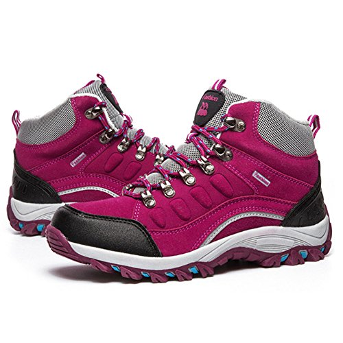 Boot Hiking Hiker Backpacking Outdoor BERTERI Leather and Winter Men's Shoe Red Waterproof Women's Rose 0Tw8qT