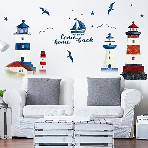 Euone  Wall Sticker Clearance , DIY Lighthouse Family Wall Decals Home Room Decor Background Window Murals Stickers ()