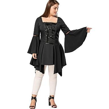 1768ba2c830224 CharMma Women's Plus Size Square Neck Long Flare Sleeve Lace up Irregular  Hem Tunic Top (