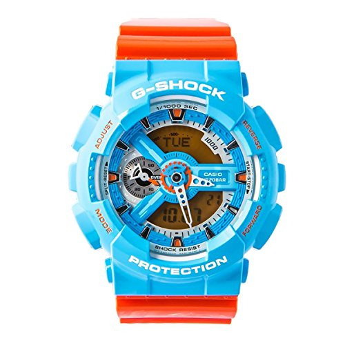 Casio G-Shock NEO POP COLOUR Series Blue Orange Mens Resin Watch GA110NC-2A World Time Shock Water Resistant Alarm