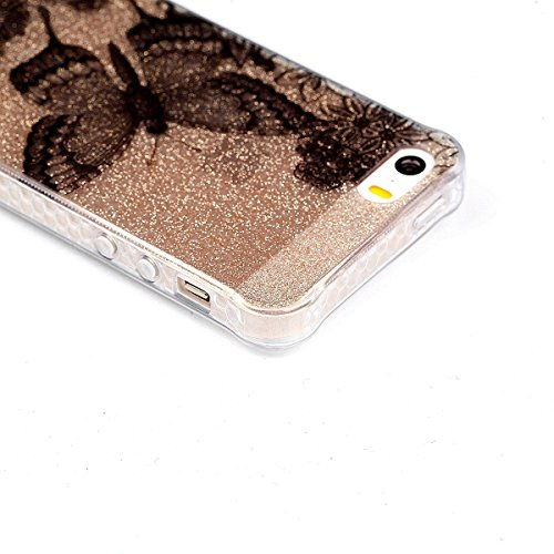 iPhone 5 Funda, Sunroyal Ultra Semitransparent Carcasa iPhone SE Bling Flexible Bumper Parachoques Extremadamente Delgada Funda Resistente a los Arañazos Silicona Suave TPU Protectora Caja del Teléfon B-12