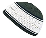 Muslim Bookmark Stretchy Elastic Beanie Kufi Skull Cap Hats Featuring Cool Designs and Stripes (Green w/White Band)