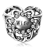 JMQJewelry Heart Wife Charm Birthstone April Christmas Charms Bead For Bracelets