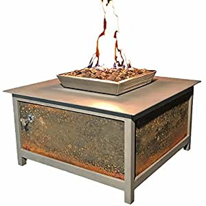 "IMPACT Fire Table, Heavy Duty Steel, Square, 36""x36"", Mock Rock Gray Powder Coated Frame, Salvaged Raw Steel Side Panels, Propane Fire Pit, Firepit. Modern, Industrial Design. Made in the USA."