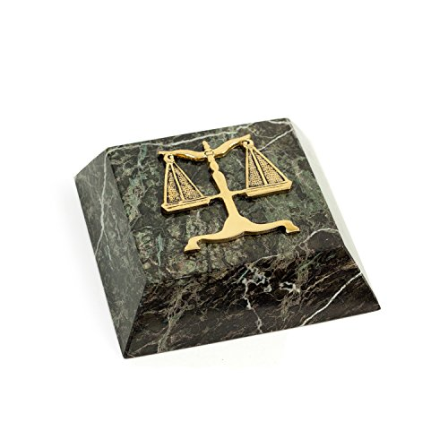 Paloma Collection AJ-R20L Marble Paperweight with Antique Gold Plated Legal Emblem, Green (Legal Paperweight)