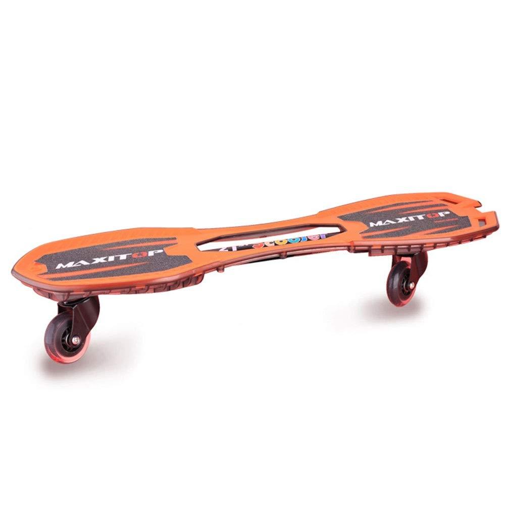 Ripster Caster Board Caster Board - Anti-Rutsch-konkavierte Plattform zum Surfen 2-Rollen-Leichtgewicht-Tragbares Caster-Waveboard Street Surfing Wave ( Farbe : Orange , Größe : 76*15*18.5cm )