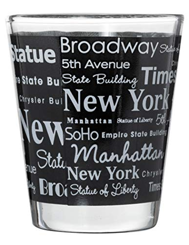 New York City Landmarks and Destinations Wrap Design Souvenir Shot Glass