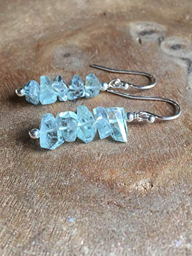 Aquamarine Dangle Earrings Sterling Silver March Birthstone Jewelry Gift For Women