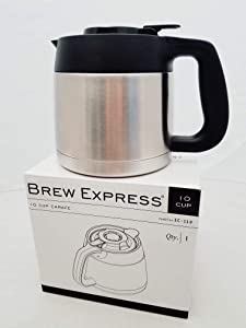 Brew Express Carafe Replacement - 10 Cup Stainless/Black
