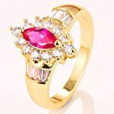 925 Silver 14KT Yellow Gold Filled Pink Sapphire Emerald Ring Size 6-10 (7)